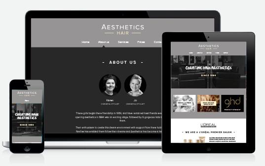 Bespoke WordPress design – salon website