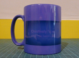 Branded mug for customer promotion