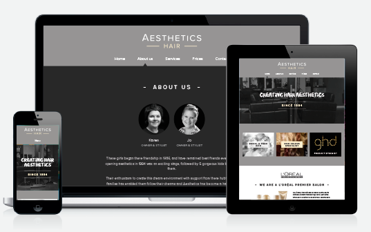 Bespoke WordPress design – salon website