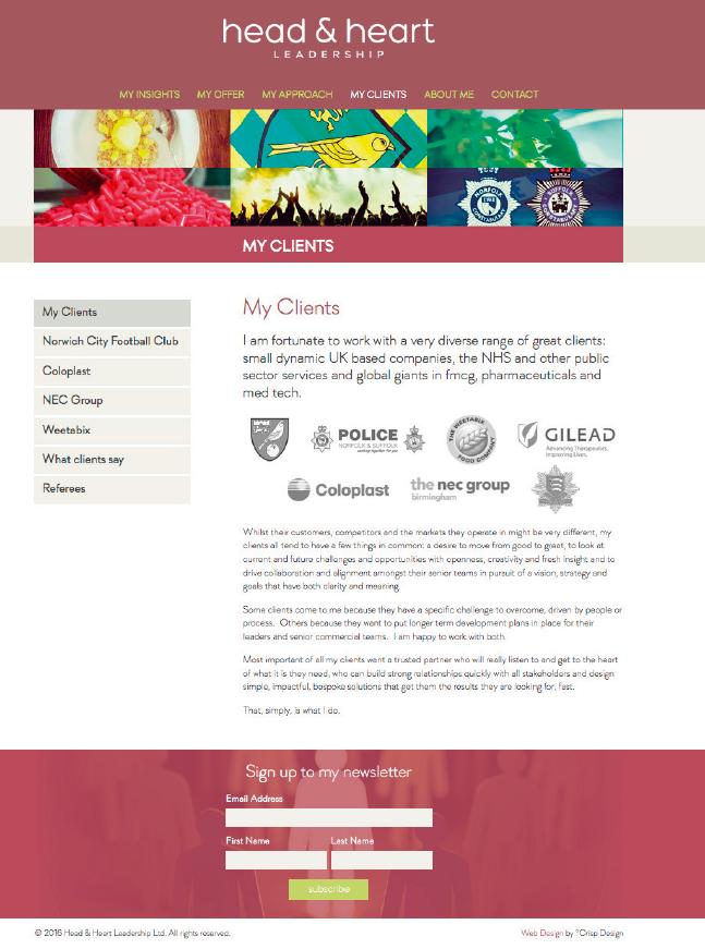 Leadership Coach website design