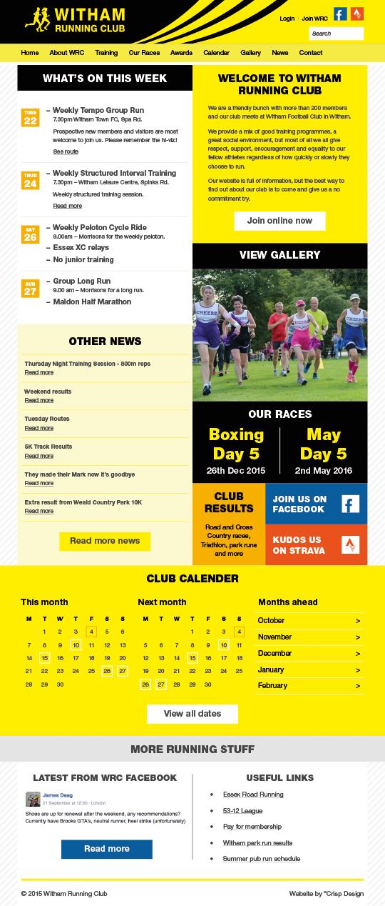 Running Club Website Design